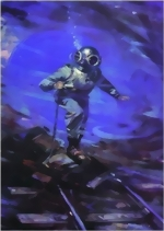 Helmet Diver Lambert in the Flooded Severn Tunnel - Reproduktion from an orginal 19Th century