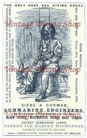 Siebe & Gorman Werbung / Advertisement from 1876