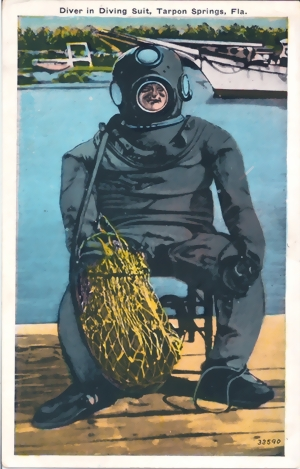 Orig. Vintage Postcard - Diver in Diving Suit, Tarpon Springs, Fla. - 1910 - ungelaufen