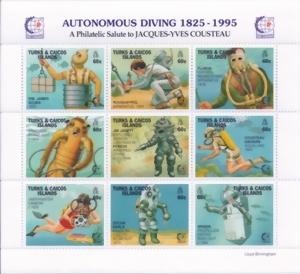 Turks & Caicos Islands - Autonomous Diving 1825 to 1995 - (SC 1177) - MNH-Z842 - 9 Stamp Sheet - MINT - Block