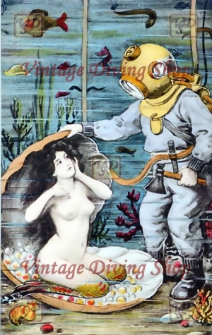 Mermaid with Deep Sea Diver - Kiss of the Mermaid