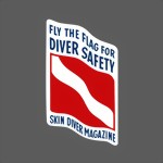 Vintage Skin Diver Magazine -Fly the Flag for Safety- Scuba - decal sticker Aufkleber